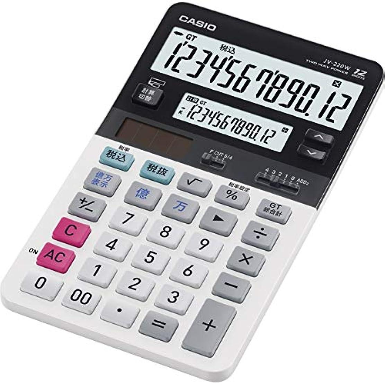 コストタイトル大カシオ ツイン液晶表示電卓 JV-220W 【電卓 カシオ 小型 うちやすい ツイン液晶】