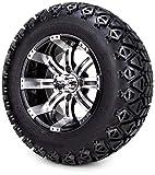 12' Tempest Machine Black Golf Cart Wheel & All Terrain Tire Combo Set of 4