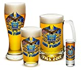 Pint Glasses – USAF American Hero's Gifts for Men or Women – Double Flag Air Force Eagle Beer Glassware – Armed Forces Beer Glass with Logo - 4 Piece Collector Set (16 Oz)