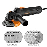 Angle Grinder,Meterk 750W 4-1/2inch with 115mm 3 Grinding Abrasive...