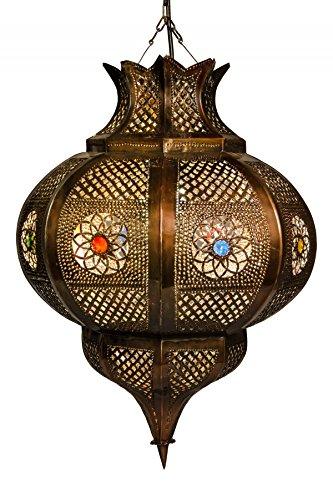 Orientalische Lampe Pendelleuchte Rostfarben Esmahan E27 Lampenfassung | Marokkanische Design Hängeleuchte Leuchte aus Marokko | Orient Lampen für Wohnzimmer Küche oder Hängend über den Esstisch
