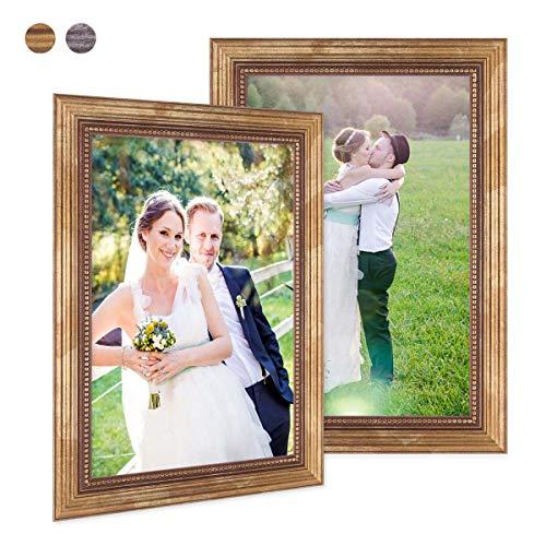 Photolini Juego de 2 marcos 21x30 cm/DIN A4 oro barroco, antiguo, madera maciza con cristal y accesorios/marco de fotos/marco barroco