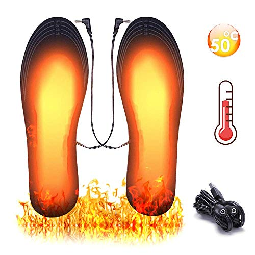 KIPIDA Heated Insoles,USB Heated Insoles Rechargeable,DIY Washable Foot Warmer Thermal Insoles for Camping Skiing Fishing Hunting,Heating Shoe Insert Warm Feet for Men and Women(Size 7.5-10/40-43)