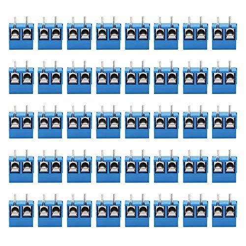 Merssavo 40pcs blau 2-Pin Schraubklemme Block-Anschluss 5,08 mm Pitch Panel PCB Mount DIY
