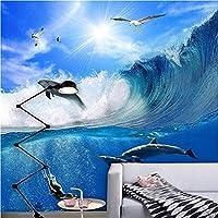 ウォールステッカーデカール 3Dステレオオーシャンウェーブイルカ写真PVC粘着防水バスルーム背景 壁画家の装飾