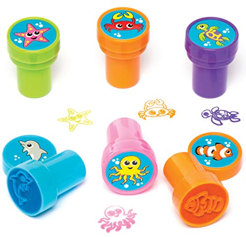 """Baker Ross AV221 Selbstfärbende Stempel """"Unterwasserwelt"""" für Kinder zum Basteln und Dekorieren von Karten und Bastelarbeiten – kleine Geschenke für Sommerfeste (10 Stück), 10 Pack"""