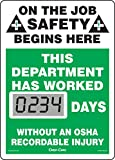 Accuform Mini Digi-Day Electronic Safety Scoreboard, On The Job Safety Begins Here - This Department Has Worked Days Without an OSHA Recordable Injury, 14'x10', SCL234