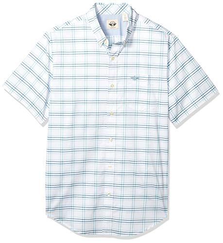 dockers Herren Short Sleeve Shirt Hemd mit Button-Down-Kragen, Türkis-Thin Plaid, S