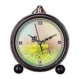 girlsight Art Retro Salón decorativo sin tictac, fácil de leer, cuarzo, mesita de noche analógica, reloj despertador, esfera de reloj floral, papel de fondo