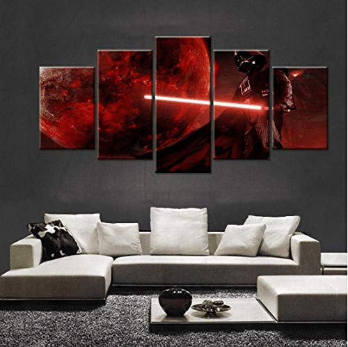 5 Piezas Cuadros Lienzo Decoracion Salon-Película De Darth Vader Skywalker Lienzos Decorativos...