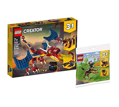 Collectix Lego Set - Lego Creator 3-in-1 Feuerdrache 31102 + Lego Creator Deutscher Schäferhund 30578 Polybag