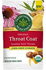 Soothes Sore Throats USDA Certified Organic, B Certified Corp. This unique formula blends the throat soothing powers of pectin with organic ginger extract and organic lemon essential oil. Taste: Lemon Ginger Echinacea Contains 16 Pectin Throat Drops
