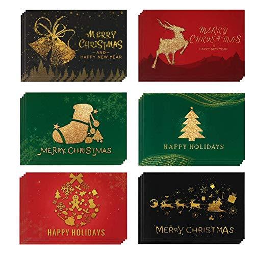 24 piezas,Navidad con Sobres y Pegatinas,Tarjeta de Felicitación de Página en Blanco,Tarjeta Exquisita para...