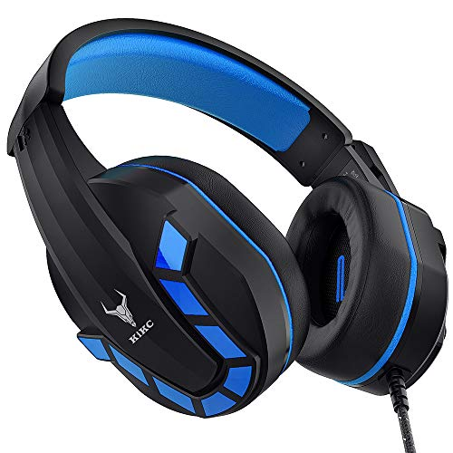 Kikc Gaming Headset with Mic for PS4, PS5, Xbox, PC, Switch, Controllable Volume Gaming Headphones with Soft Earmuffs for Mobile Phone, iPad, and Notebook, 40mm Drivers, 3.5 mm Audio Jack-Blue