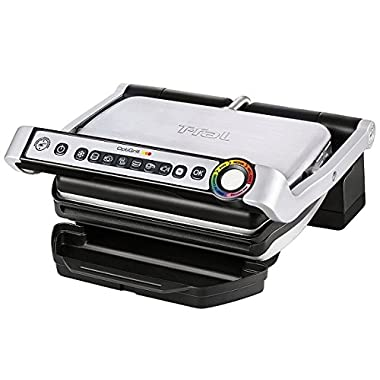 T-fal GC704 OptiGrill Stainless Steel Indoor Electric Grill with Removable and Dishwasher Safe plates,1800-watt, Silver