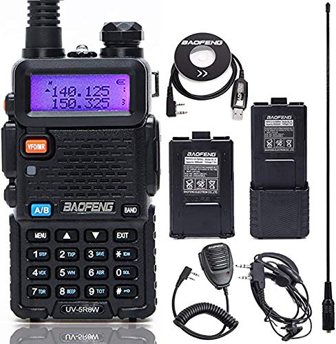 BaoFeng UV-5R 8 Watt High Power VHF UHF Dual Band Two Way Radio Tri-Power 8/4/1W Portable Ham Radio with one More 3800mAh Battery,Speaker, Antenna, USB Program Cable and Earpiece