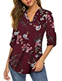 Halife Women's V Neck 3/4 Sleeves Floral Tunic Tops Shirts To Wear With Leggings Wine Red L