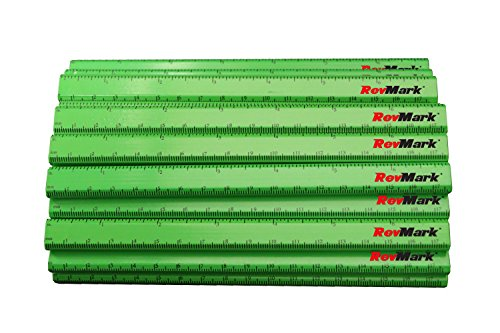 RevMark Carpenter Pencils with Ruler Printed on Pencil (24 Pack) (Neon Yellow)