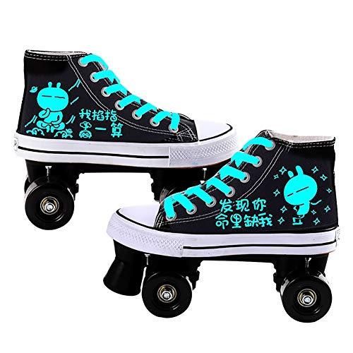 LYL Roller Skates Frauen Kinder Fluorescent Leinwand Design, Zwei Rad-Optionen, grelle Rad-Stil ist die Beste Wahl for Geschenke (Color : Flash Wheel, Size : 35)