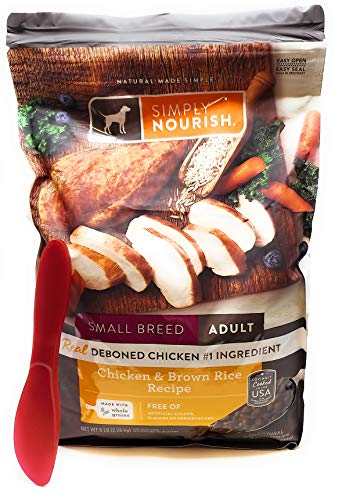 SIMPLY NOURISH Small Breed Adult Dry Dog Food - Chicken & Brown Rice, 5 pounds and Especiales Cosas Mixing Spatula