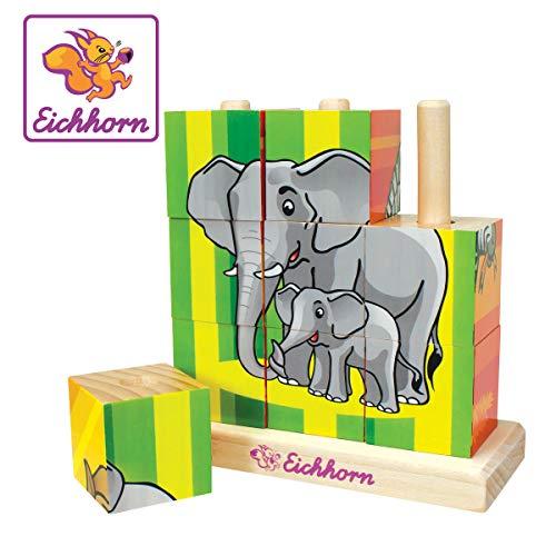 Eichhorn 100003623 - Holz-Bilderwürfel-Puzzle - 9 Würfel - 4 Motive zum Stecken - 14x14cm