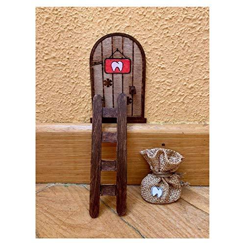 Puerta Ratón Pérez mágica con Carta, Escalera y Bolsita. Regalo original niño niña Ratoncito Pérez. Hecho a mano en España
