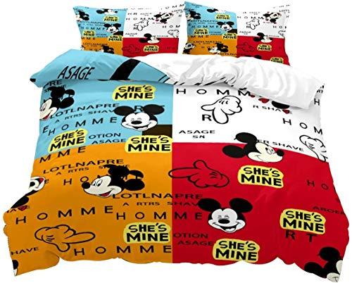 RITIOA Juego de ropa de cama para niños, diseño de Mickey Mouse, suave y esponjosa, con cremallera, 1 funda nórdica de 200 x 200 cm y 2 fundas de almohada de 50 x 75 cm