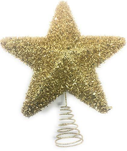 YLAB - Adorno para árbol de Navidad, Estrella de Oro de Oropel