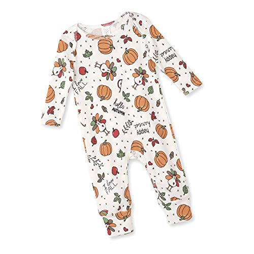 Tesa Babe Thanksgiving Pumpkin Turkey Day Romper for Newborn & Toddlers Baby Boys & Girls, Multi (Happy Harvest, 12-18 Months)