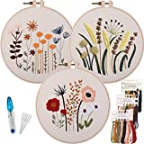 3 Sets Beginner Embroidery kit with Pattern and Needle, Hand Stamped Embroidery Kits for Adults with Instructions Include Color Thread, Plastic Hoop & Cotton Fabric…