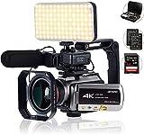 Videocámara 4K con zoom digital 64X, conexión con telescopio/luz LED/micrófono y otros accesorios (Sac DV y tarjeta SD de 64 GB) de Tiang