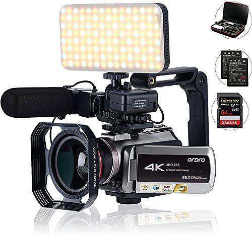 Camescope 4K, Transfert UHD.265 avec Codage vidéo, avec Zoom numérique 64X, Connexion avec télescope lumière LED Microphone et Autres Accessoires (Sac DV et Carte SD de 32 Go) de Golden Panda