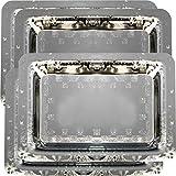 Maro Megastore (paquete de 4) Bandeja de servicio rectangular plateada cromo de 47 x 33 cm. Bandeja para bandejas de fiesta con borde floral Tla-070