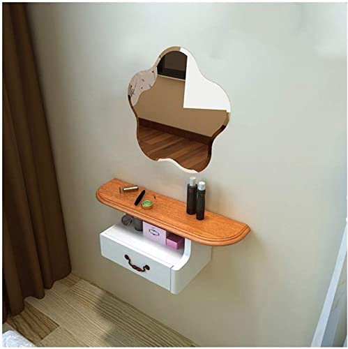 LQQGXLPortabler Klapptisch Nachttisch, Frisiertisch, Frisiertisch, Multifunktionstisch, (Farbe   Shelf+mirror B)