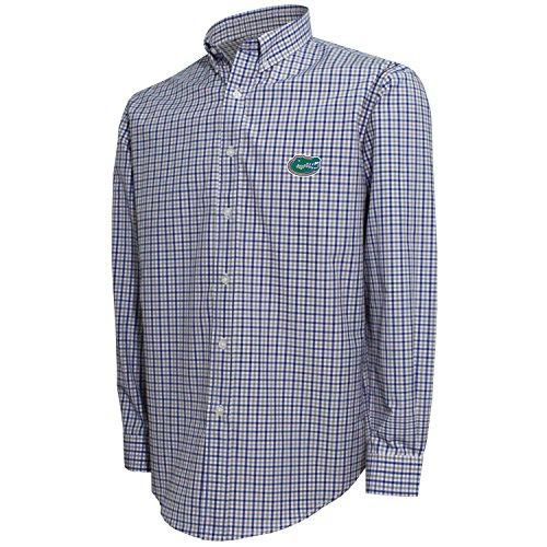 Crable NCAA Men's 3 Color Woven Polo Shirt, Florida Gators (White/Royal/Platinum) - Medium
