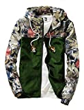 Rexcyril Men's Windbreaker Jacket, Floral Bomber Jacket Hooded Lightweight Zip-up Drawstring Flower Coat Army Green Small