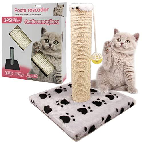 BPS (R) Juguete Rascador Con Campana para Gatos, Amarillo, Morado, Rosa, Gris y Verde, Scraper para Gato, Animales Domésticos 28 x 28 x 32cm BPS-3158-FBA ⭐
