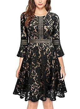 MISSMAY Women s Vintage Full Lace Contrast Flare Sleeve Big Swing A-Line Dress  Small Black