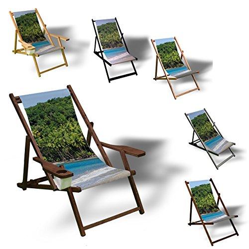 Printalio - Strand und Plamen - Liegestuhl Bedruckt Balkon Garten Sonnenliege Relax Holz Terrasse | mit Armlehne, Natur