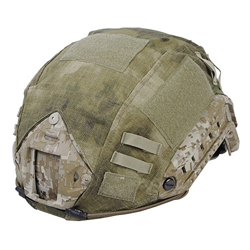 Leagway Tactical Military Combat Helmet Cover for Ops-Core Fast Ballistic Helmet, Airsoft Paintball Hunting Shooting Gear Fast Helmet Cover (Jungle Ruins)
