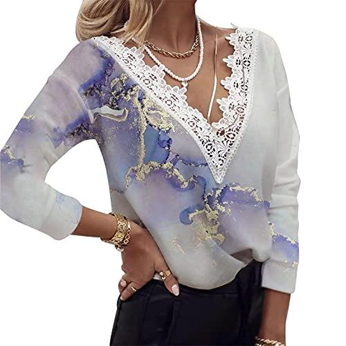 Camisetas Mujer Largo Blusa con Cuello en V Encaje Tunica con Manga Larga Vintage Estampado de Flores T-Shirt Casual Loose Moda Pull-Over
