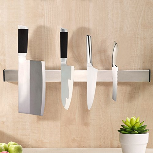 KES SUS 304 Stainless Steel Magnetic Knife Rack 3M Self Adhesive Sticky Kitchen Storage Organizer Stick on Utensil Hanger 20-Inch or 50 CM, Brushed Finish, KUR201S50-2