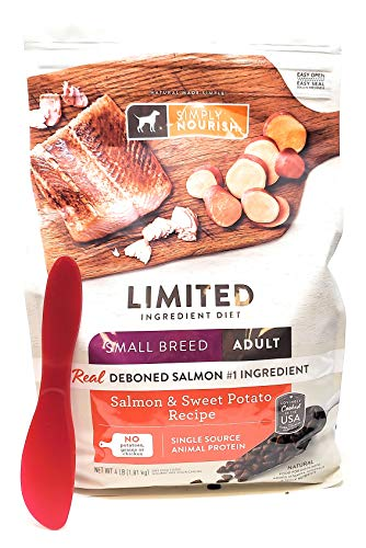 Simply Nourish Small Breed Adult Salmon and Sweet Potato Dry Dog Food, 4 lbs and Especiales Cosas Mixing Spatula