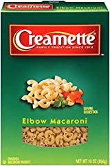 Creamette Small Elbows are a versatile pasta perfect for tomato-based or creamy sauces in entrées or in salads, soups and baked dishes. Non-GMO Project Verified Certified Kosher by Star K Made with no preservatives, low in fat, sodium free, and chole...