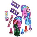 Townley Girl Spa Day Set, Includes 4 Nail Polish, Flip Flops (Girls 10-11) and Toe Separator,10 CT (Disney Princess)