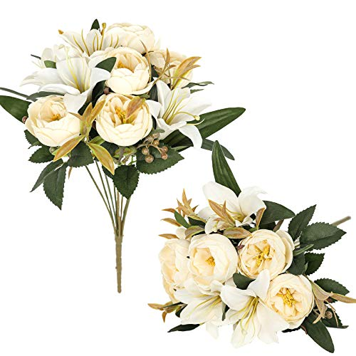 Luyue 2 Pack Artificial Flowers Arrangements Vintage Peony Lily Bouquets Faux Floral Decoration for Home Office Party Cemetery Decor-Vintage Ivory White