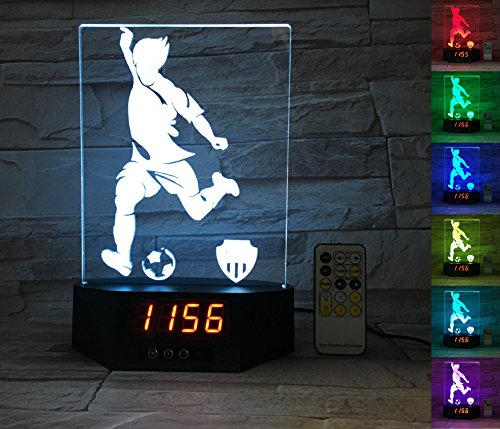 ATOMFIT Soccer Sport 3D LED Night Light for Home, Table or Desk Lamp, Optical Illusion with 7 Color Switching - Clock, Temperature, Nursery Bedroom Boys Girls Kids Baby Toddler Adults Gift