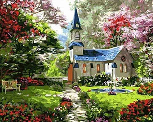 votgl Pintura por números Garden Villa DIY Kits de Regalo de Pintura al óleo Arte de Lienzo preimpreso Decoración del hogar-16X20 Pulgadas (sin Marco)