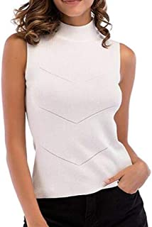 Yeirui Women's Summer Knitted Sleeveless Color Solid Turtle Neck Tank Top Cami Blouse Shirt