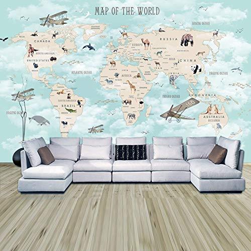 Fototapete 3d effekt Kinderzimmer Tapeten Cartoon Weltkarte Hintergrund Fototapete Wohnzimmer Schlafzimmer Selbstklebende Vinyl/Seide Tapete-280X200CM